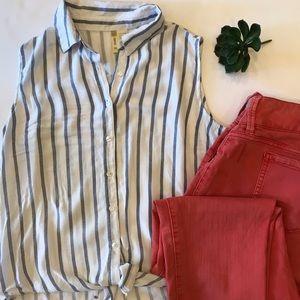 Japna Blue & White Striped Tie Front Top Medium